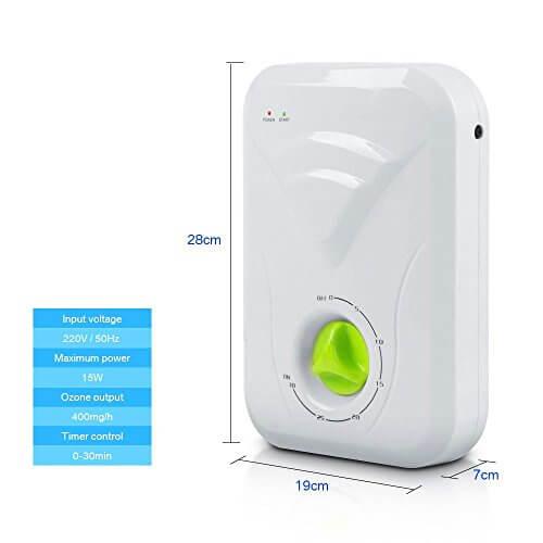 FUNTELL Ozon-Generator, Wasser- und Luftreiniger Ozongerät Desinfektiongerät 400 mg/h Entgiftung Obst Gemüse Fleisch - 2