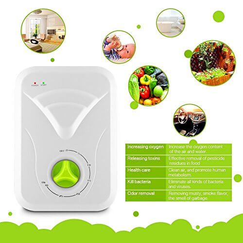 FUNTELL Ozon-Generator, Wasser- und Luftreiniger Ozongerät Desinfektiongerät 400 mg/h Entgiftung Obst Gemüse Fleisch - 1